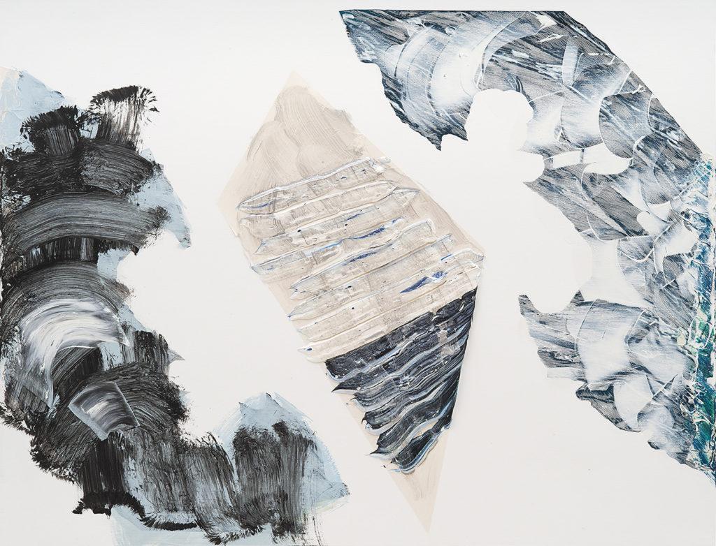 Pia Fries, besan, 2014, Ölfarbe und Siebdruck auf Holz / oil and silkscreen on wood, 84 × 110 cm